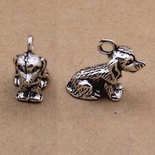 10pc Retro Tibetan Silver 3D Dog Animal Pendant Bracelet Charms Wholesale PJ799