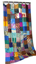 Handmade Patchwork Door Curtains Boho Decor Valances Panels Silk Sari Indian