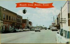 VTG Howdy from Bowie Texas TX Street Scene Old Cars Coca Cola Stores Postcard