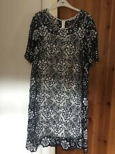 Lovely Gina Bacconi Navy & White Floral Orint Dress. Size 18. Worn Once!RRP £300