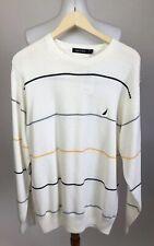 NEW $70 Nautica Men's Size XL Pullover Striped Sweater Crew Neck 100% Cotton