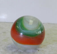 #12687m Large .75 Inches Green and Red Akro Agate Popeye Marble