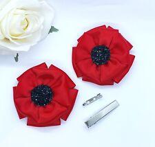 """soie rouge /""""Handmade/"""" Fait à la main fleurs de pavot de Tissu Pince à Cheveux et Broche"""