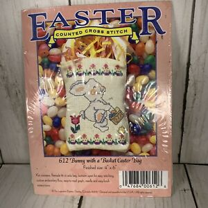 """Sugarplum Express 612 Counted Cross Stitch Bunny With A Easter Bag 4"""" x 6"""""""
