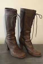 Frye Villager Boots Lace Granny 9 Gold Leather Side Zip High Heel Knee High