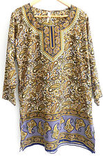 Ocean Breeze Tunic Dress Size S (over sized) Multicolored Paisley Rhinestones