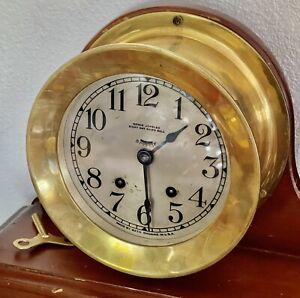 Seth Thomas Vintage Striking 8 Day Ships Mantel Clock Running + Key