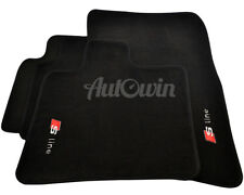 Audi Q7 Floor Mats 2007-2015 Black Tailored With Sline Logo & Clips LHD Side NEW