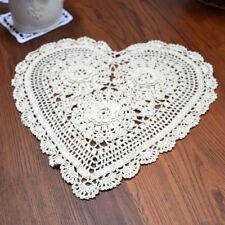 Fine Yarn Hand Crochet 33cm Heart Shape 3D Flowers Cotton Doily Beige Table Mat