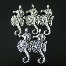 10X Vintage Style Silver Tone 27*12*2mm Seahorse Pendant Charms Findings 04166