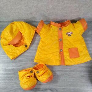 VTG Teddy Ruxpin Clothes Yellow/Orange Rain Coat 4-piece Outfit Worlds of Wonder