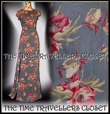 Kate Moss Topshop VINTAGE 40s Blue Pink Floral Fishtail Split Maxi Dress UK 10
