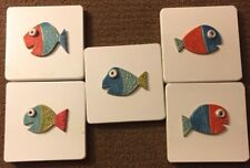 "Bechler Pottery Ceramic Fish Tile Funky Fun Art 7"" Michigan Artist Set Of 5 Tile"