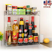 2 Tier Kitchen Spice Rack Bathroom Countertop Storage Organizer Shelf Holder US