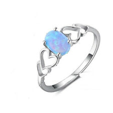 Double Heart 925 Silver Women Blue Fire Opal Topaz Ring Engagement Party Size 6