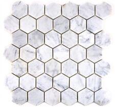 Mosaïque carreau marbre naturel hexagone Blanc Carrara sol 44-0103_f |10 plaques