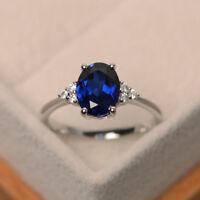 2.15 Ct Oval Blue Sapphire Diamond Engagement Ring 14K White Gold Size K L M