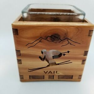 """Handmade """"Wood You Tell Me"""" Made in USA Vail Ski 2012 Candle Holder with Liner"""