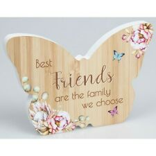 Vintage Floral Wooden Butterfly Plaque - Friends