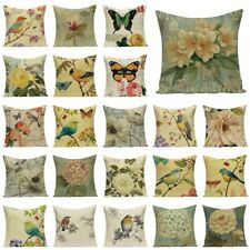 """New listing 18""""Vintage Flowers Linen Cotton Soft PillowCases Throw Cushion Cover Home Decor"""