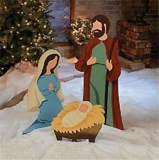 Large Nativity Scene Holy Family Metal Outdoor Christmas Set (3-pc Set)