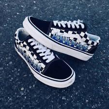 Checkerboard Black Old Skool Blue Flame Thrasher Embroider Vans Custom Trainer