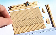 100+ Miniature wood planks HO O scale lumber for railway model dollhouse cargo