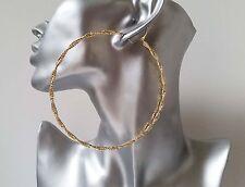 """NUOVO in! splendido ENORME Gold Tone Twisted Luccicante ORECCHINI CERCHI GRANDI, 4"""" - 10cm"""
