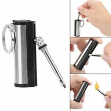 Key Chain Striker Lighter Permanent Cylindrical Match Stainless Steel Key Ring A