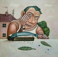 BUTTERBROT MIT FISCH canvas Öl auf Leinwand Gemälde Gr. ca. 33x33 cm