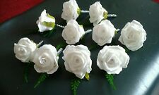 GROOMS TRIPLE BUTTONHOLE 2 X DOUBLE GROOMSMEN & 10 x WHITE WEDDING BUTTONHOLES