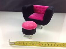 Dollhouse Furniture Velvet Hot Pink Armchair w/ Stool (Barbie/Monster High size)