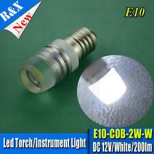 Pair 2W LED Lamp Bulb 12V White MES E10 screw Torch / Lamp Bulbs Daylight White