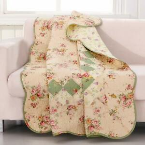 Greenland Home Bliss Ivory Quilted Patchwork Throw