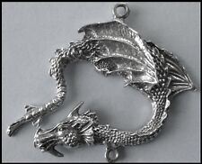 PEWTER CHARM #321 Dragon (40mm x 45mm) 2 bails joiner for suncatcher