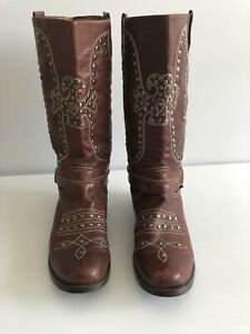 Midas brown leather mid calf cowboy boot size 39