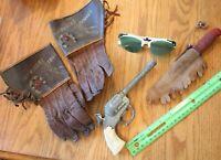 Cowboy Toy Lot of Roy Rogers Trigger Gloves vintage rubber knife green glasses