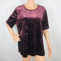 Chico's Women's Crushed Velvet Top Size 3 Burgundy Purple Short Sleeve XL 16