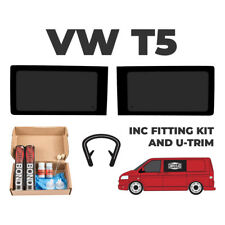 2 x VW T5 Transporter FIXED Side Windows WITH FITTING KIT AND U TRIM
