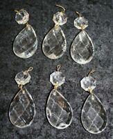 6 Teardrop Crystal Glass Prism Restoration Lamp Repair Refurbish Vintage reclaim