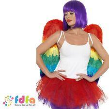 FEATHER RAINBOW FESTIVAL PRIDE ANGEL WINGS womens ladies fancy dress costume