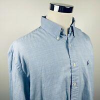 Polo Ralph Lauren Mens XL Vintage Blake Shirt Blue White Glen Plaid Cotton