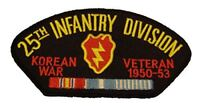 US ARMY 25TH INFANTRY DIVISION ID KOREAN WAR VETERAN PATCH W/ CAMPAIGN RIBBONS