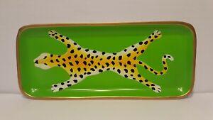 DANA GIBSON Green Leopard Rectangle Tole Decorative Metal Tray Anthropologie