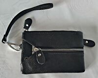 VINTAGE AUTHENTIC BLACK LEATHER KEY CHAIN WALLET COIN PURSE CARD HOLDER