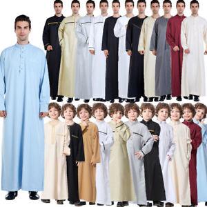 Men&Boys Saudi Style Thobe Thoub Islamic Arabic Kaftan Clothing Abaya Robe Jubba