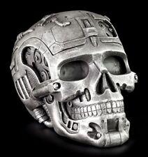 Cyborg Totenkopf Schatulle - Figur Totenschädel Dose Roboter Deko