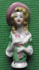 Vintage Art Deco Lady Ceramic Half Doll for Hat Pin Cushion Bouffant Hair Hat B
