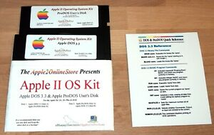✅ Ѽ Apple II OS Kit - ProDOS & DOS 3.3 on NEW 5.25 Disks + Reference Card