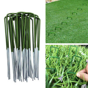 20-100Pcs Half Green Coated Artificial Grass Turf U-Shaped Pins Galvanized Steel